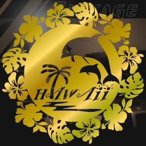 ステッカーハワイアン イルカ ハイビスカス モンステラ サイズ:16cm×16cm :金色|ginkage