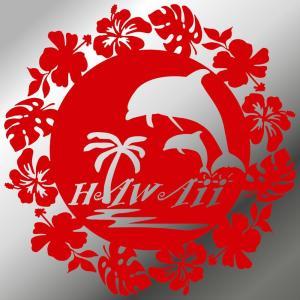ステッカーハワイアン イルカ ハイビスカス モンステラ サイズ:16cm×16cm :赤色|ginkage