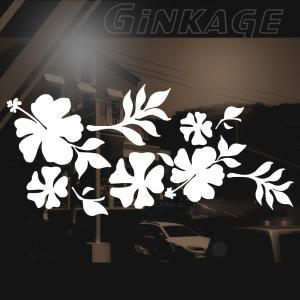ハワイアン ハイビスカス ステッカー サイズ:12cm×26cm :(右側) ステッカー ハイビスカス ハワイアン グッズ ハワイアン 雑貨 車 リアガラス|ginkage