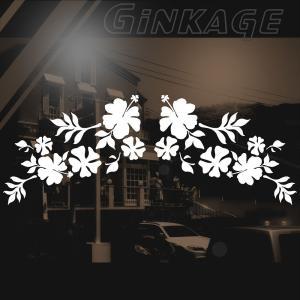 ハワイアン ハイビスカス ステッカー サイズ:12cm×26cm ×(左右対称) ステッカー ハイビスカス ハワイアン グッズ ハワイアン 雑貨 車 リアガラス|ginkage
