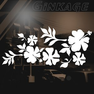 ハワイアン ハイビスカス ステッカー サイズ:16cm×35cm :(左側) ステッカー ハイビスカス ハワイアン グッズ ハワイアン 雑貨 車 リアガラス|ginkage