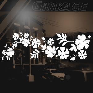 ハワイアン ハイビスカス ステッカー サイズ:16cm×48cm :(左側) ステッカー ハイビスカス ハワイアン グッズ ハワイアン 雑貨 車 リアガラス|ginkage