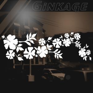 ハワイアン ハイビスカス ステッカー サイズ:16cm×48cm :(右側) ステッカー ハイビスカス ハワイアン グッズ ハワイアン 雑貨 車 リアガラス|ginkage