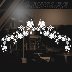 ハワイアン ハイビスカス ステッカー サイズ:16cm×48cm ×(左右対称) ステッカー ハイビスカス ハワイアン グッズ ハワイアン 雑貨 車 リアガラス|ginkage