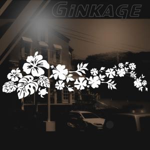 ハワイアン サーフ ハイビスカス ステッカー 華やかな 車ステッカー リアガラス用 サイド サイズ:(縦)16cm×(横)48cm (枠サイズ)|ginkage