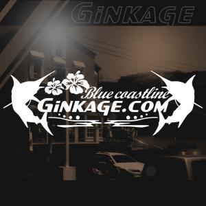 ハワイアン カジキ ステッカー 銀影 エンブレム ワンポイント ハイビスカス 車リアガラス用 サイズ:8cm×24cm|ginkage