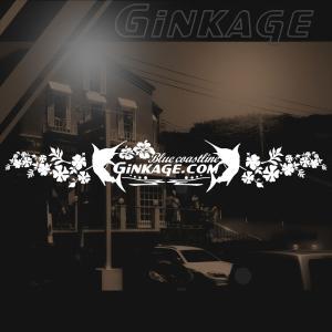 ハワイアン カジキ ステッカー 銀影 エンブレム ワンポイント ハイビスカス 車リアガラス用 サイズ:16cm×92cm|ginkage
