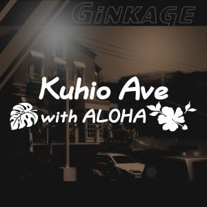 クヒオ 通り ハワイの海岸と大通り人気スポットの愛称 ハワイアン ステッカー モンステラ ハイビスカス アロハ|ginkage