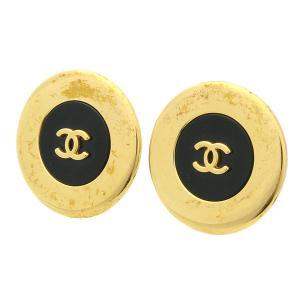 CHANEL シャネル (CC)ココマーク ラウンド/丸型 イヤリング ブラック×ゴールド 97A シャネル イヤリング ラウンド (CC)ココマーク ginkura