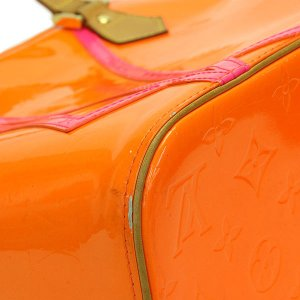 LOUIS VUITTON ルイヴィトン モノグラム ヴェルニ フルオ ヒューストン オレンジ×ピンク×ゴールド金具 M91935 2002年クリスマス限定 トートバッグ ginkura 04
