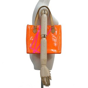 LOUIS VUITTON ルイヴィトン モノグラム ヴェルニ フルオ ヒューストン オレンジ×ピンク×ゴールド金具 M91935 2002年クリスマス限定 トートバッグ ginkura 06