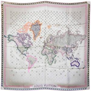 新品 LOUIS VUITTON ルイヴィトン カレ モノグラム マップ/シルク100%スカーフ パールピンク M75076 大判スカーフ|ginkura