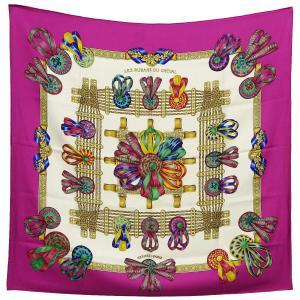 クリーニング済み HERMES エルメス カレ90/大判スカーフ/シルク100%スカーフ LES RUBANS DU CHEVAL 馬のリボン飾り|ginkura
