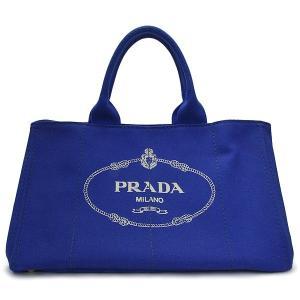新品同様 PRADA プラダ カナパトート/ハンドバッグ コバルトブルー×ゴールド金具 BN1872 キャンバス プラダ ロゴ バッグ/トートバッグ/かばん/カバン/ ginkura