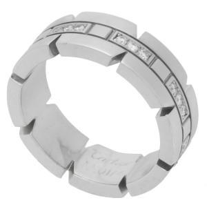 新品仕上げ Cartier カルティエ タンクフランセーズ リング/指輪 ハーフダイヤモンド K18WG/750WG ホワイトゴールド #50(10号)|ginkura