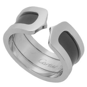 新品仕上げ Cartier カルティエ C2リング K18WG/750WG/ホワイトゴールド×ブラックラッカー #52(12号) 2003年 クリスマス限定 リング/指輪 WG|ginkura