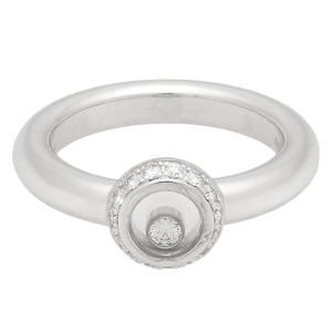 新品仕上げ Cyopard ショパール ハッピーダイヤモンドリング 1Pムービングダイヤ/パヴェダイヤ K18WG/750WGホワイトゴールド 約9.5号 リング/指輪 ダイヤ|ginkura