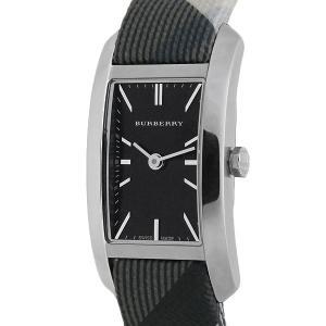 未使用品 BURBERRY バーバリー スクエア ウォッチ/腕時計 レディース クオーツ ブラック文字盤 SS×キャンバス BU9505 レクタンギュラー|ginkura