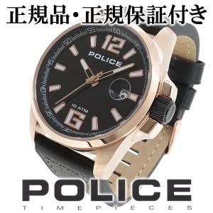 POLICE 腕時計 メンズ ブランド ポリス ランサー ローズゴールド ブラック 革ベルト メンズ腕時計 POLICE|ginnokura