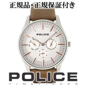 POLICE 腕時計 メンズ ブランド ポリス コーテシー シルバー ローズゴールド 革ベルト メンズ腕時計 POLICE|ginnokura