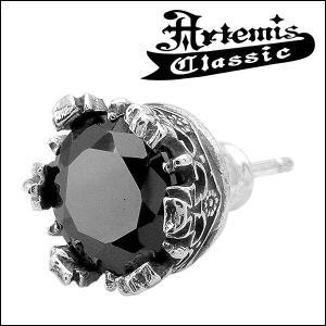 アルテミスクラシック Artemis Classic ピアス メンズ シルバー ブラックジルコニア クラウン 王冠 片耳 おしゃれ メンズピアス...