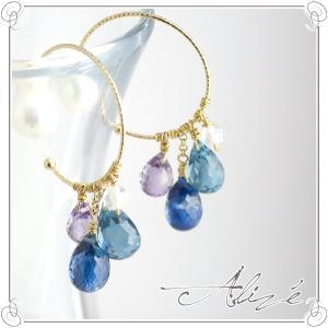 揺れる ブルー 天然石 フープピアス 2P 両耳用 K10 ゴールド 10金 10k ピアス 天然 天然石 フープピアス|ginnokura
