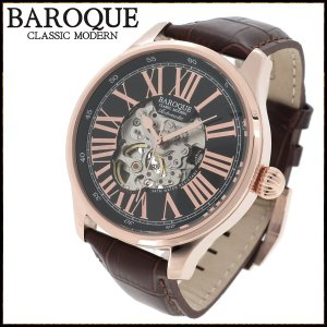 腕時計 メンズ 自動巻き スケルトン ブランド バロック DEVINO ローマ数字 ブラウン メンズ腕時計 自動巻き|ginnokura