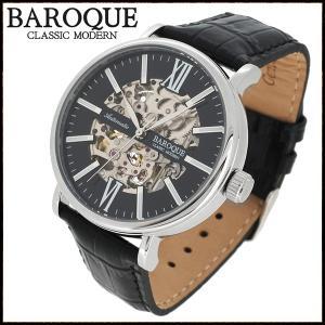 腕時計 メンズ 自動巻き スケルトン ブランド バロック GLANZ グランツ ブラック メンズ腕時計 自動巻き|ginnokura