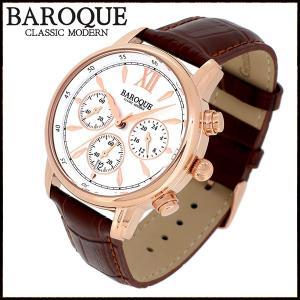 腕時計 メンズ クロノグラフ 本革ベルト ブランド バロック CLASSICO 38 ローズゴールド メンズ腕時計 おしゃれ 30代 40代|ginnokura