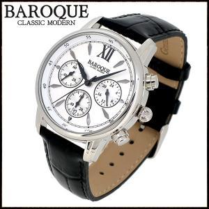 腕時計 メンズ クロノグラフ 本革ベルト ブランド バロック CLASSICO 38 ホワイト メンズ腕時計 おしゃれ 30代 40代|ginnokura