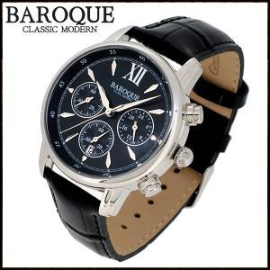 腕時計 メンズ クロノグラフ 本革ベルト ブランド バロック CLASSICO 38 ブラック メンズ腕時計 おしゃれ 30代 40代|ginnokura