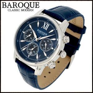 腕時計 メンズ クロノグラフ 本革ベルト ブランド バロック CLASSICO 38 ネイビーブルー メンズ腕時計 おしゃれ 30代 40代|ginnokura