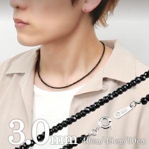 ブラックスピネル ネックレス メンズ 3mm 最高級 ダイヤモンドカット 黒 本物 天然石 人気 シルバー925 芸能人 アクセサリー プレゼント|ginnokura