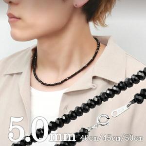 ブラックスピネル ネックレス メンズ 最高級 5mm ダイヤ...