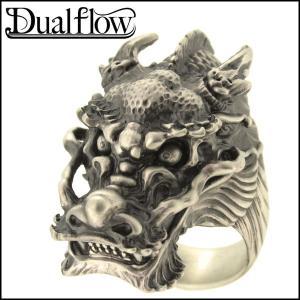 シルバーリング メンズ 龍 ドラゴン 9-28号 ブランド Dualflow シルバー925 メンズリング|ginnokura