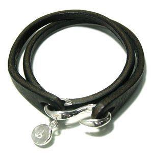 レザーブレスレット メンズ 2重巻き ブラック シルバー S字フック 人気ブランド プレゼント