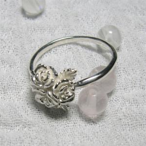 小さなバラのブーケ シルバーリング 7号-13号 オシャレ かわいい 可愛い|ginnokura