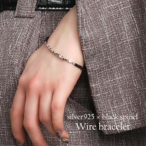 ブラックスピネル ブレスレット メンズ レディース シルバー カットビーズ 人気 ブラックスピネルブレスレット|ginnokura