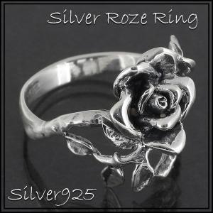 シルバーリング レディース メンズ 薔薇 バラ ローズ 9-24号 ブランド 指輪 シルバー925 シルバーリング レディース|ginnokura