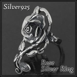 シルバーリング レディース メンズ 大輪 薔薇 バラ ローズ 9-24号 ブランド 指輪 シルバー925 シルバーリング レディース|ginnokura