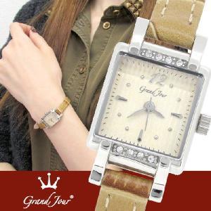 腕時計 レディース ブランド GJ74 アイボリー ストライプ レザーベルト レディース腕時計|ginnokura