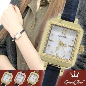 腕時計 レディース ブランド GJ75 スクエア アンティーク ブルー レザーベルト レディース腕時計|ginnokura