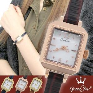 腕時計 レディース ブランド GJ75 スクエア アンティーク ブラウン レザーベルト レディース腕時計|ginnokura