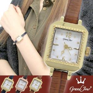腕時計 レディース ブランド GJ75 スクエア アンティーク キャメル レザーベルト レディース腕時計|ginnokura