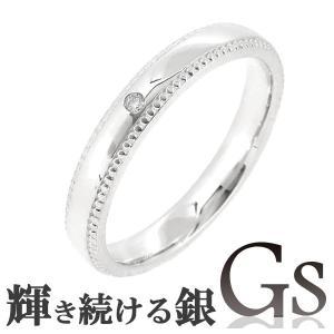 シルバーリング レディース 刻印 GS ミル打ち ダイヤモンド 7-13号 指輪|ginnokura