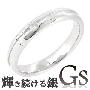 シルバーリング レディース 刻印 GS ライン ダイヤモンド 7-13号 指輪|ginnokura