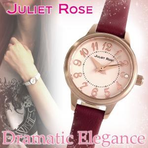 JULIET ROSE JUL-406シリーズ ピンクゴールド レッド レディースウォッチ 天然ダイヤモンド レザーバンド ブレスレット シンプル 腕時計|ginnokura