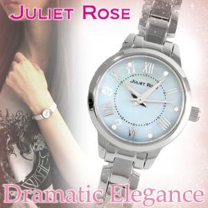JULIET ROSE JUL-407シリーズ シルバー ブルー レディースウォッチ 貝パール 天然ダイヤモンド ステンレスバンド ブレスレット シンプル|ginnokura