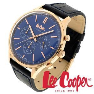 Lee Cooper リークーパー 腕時計 メンズ ブランド クロノグラフ 本革ベルト ネイビー ゴールド 時計 Lee Cooper リークーパー|ginnokura