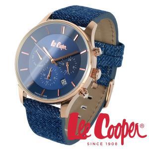 Lee Cooper リークーパー 腕時計 メンズ ブランド ファブリック レザーベルト lc6858.499 ネイビー ピンクゴールド クロノグラフ|ginnokura